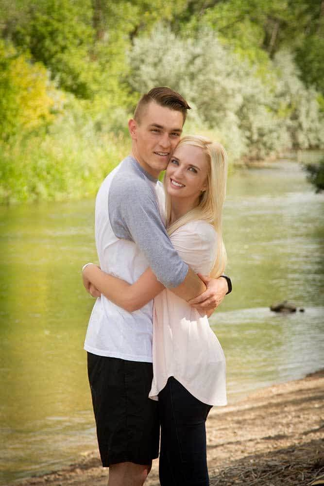 Couple at riverdale river walk portrait