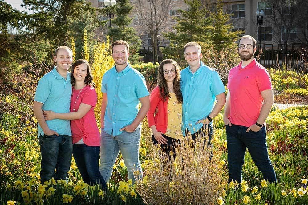 married kids in daffodils