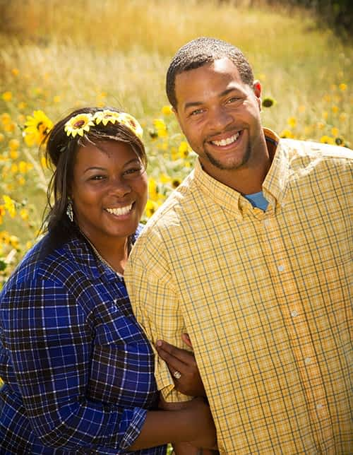 couple in blue and yellow