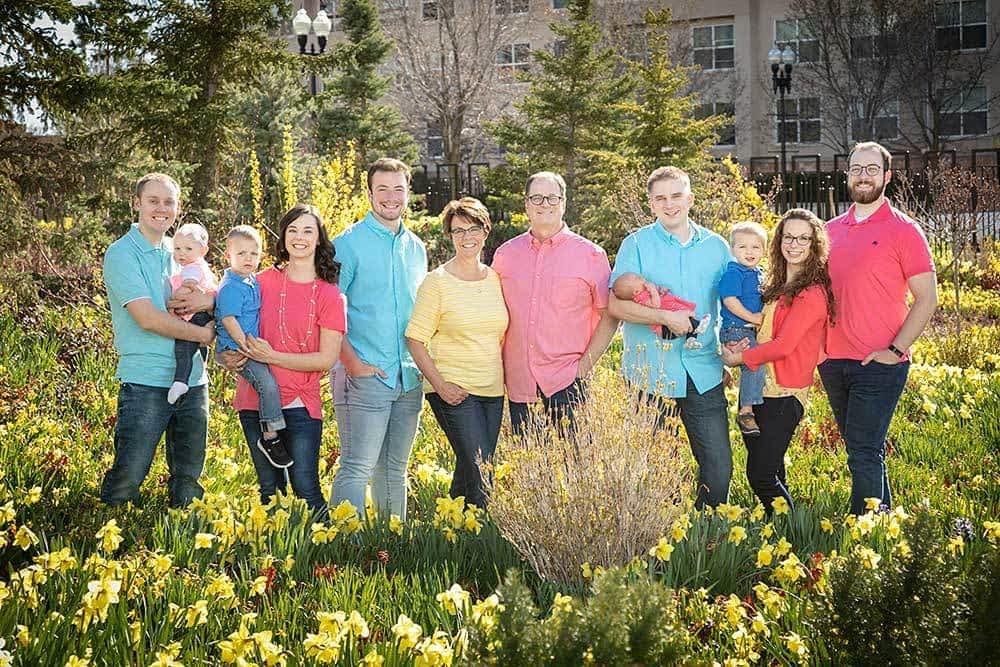 big family in daffodils