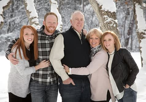 snow portrait family